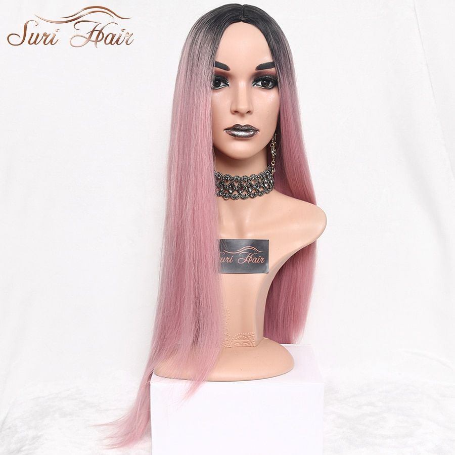 Suri Hair Long Straight Ombre Pink Heat Resistant Synthetic Two Tone Wigs For Women 30 <font><b>inch</b></font> Black Brown Blue hairpiece 7 colors