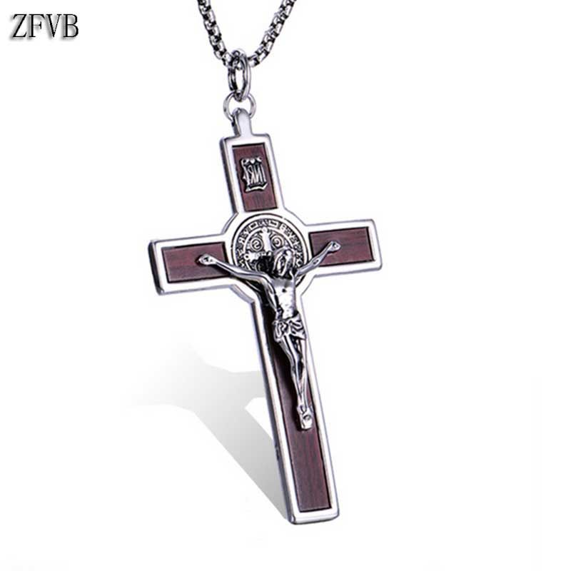 ZFVB Religious Jesus Cross Necklaces Men's 316L Stainless Steel Vintage CSPB Catholicism Necklace Pendants Statement Jewelry