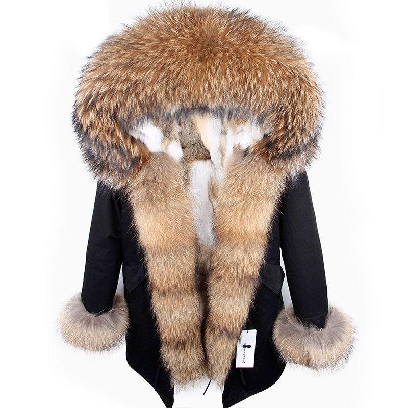 2018 new winter woman coat parkas jacket large raccoon fur collar hooded detachable rex rabbit fur lining brand style Top brand