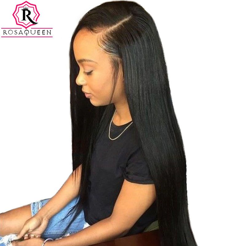Pre Plucked Full Lace <font><b>Human</b></font> Hair Wigs For Women 180% Density Brazilian Straight Lace Wig With Baby Hair Rosa Queen Remy Black