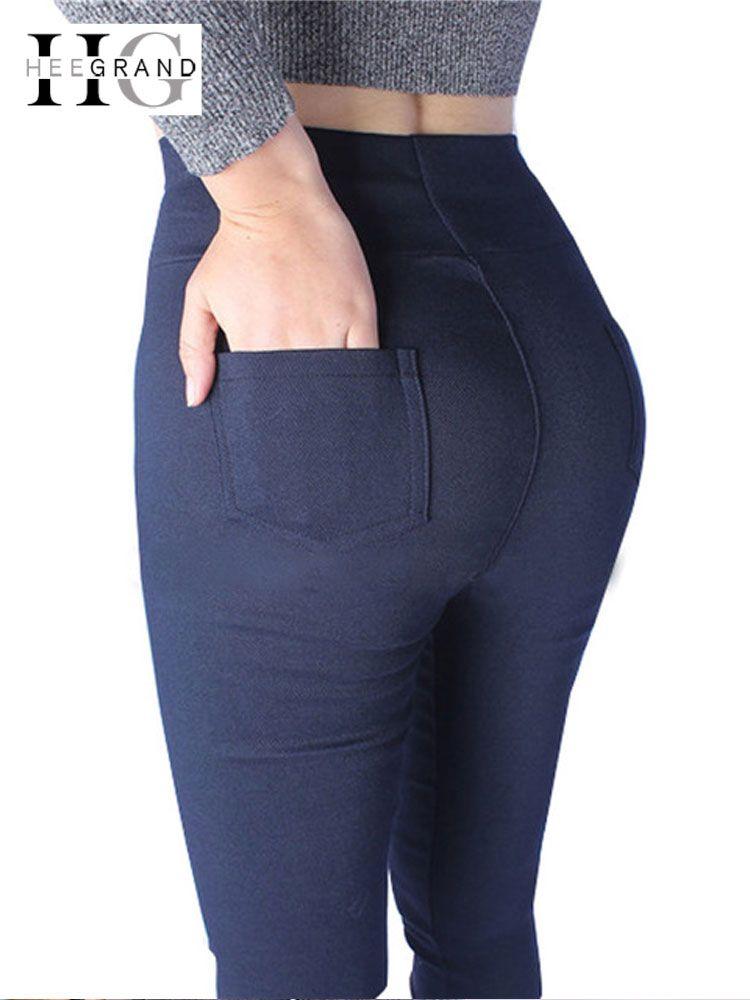 HEE GRAND femmes 2018 printemps basique crayon pantalon élastique noir blanc mi-taille sur taille pantalon Capris grande taille XL-5XL WKX398