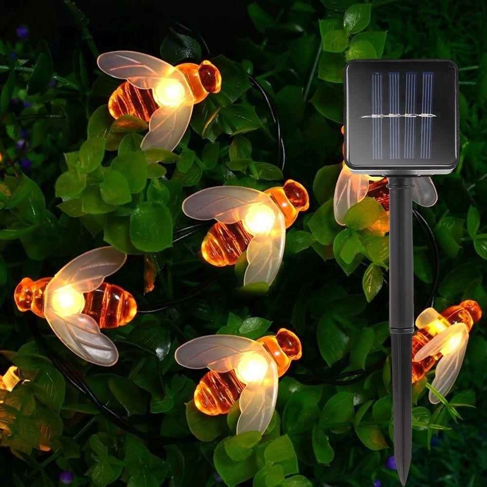 New Solar Powered Cute Honey Bee Led String Fairy Light 20leds 30leds Bee Outdoor Garden Fence Patio Christmas Garland Lights