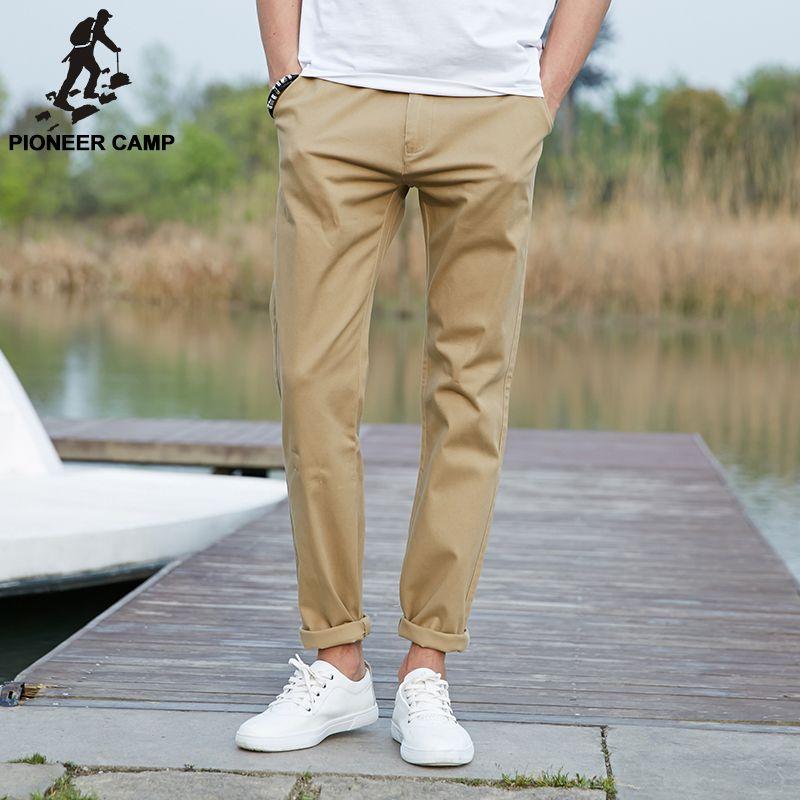 Пионерский лагерь 2017 повседневные штаны брендовая мужская одежда высокого качества весна длинным хаки брюки эластичные мужские штаны для ...