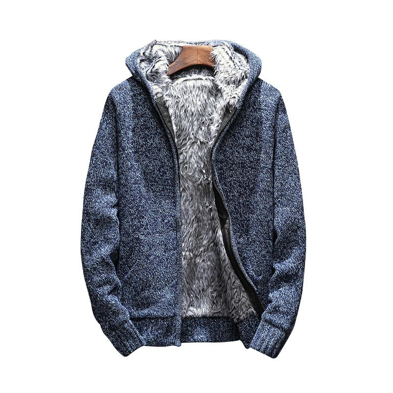 knitting thick Zip Hooded 2018 Men's Sweaters Autumn Winter Warm Cashmere Wool Zipper Pullover Sweaters