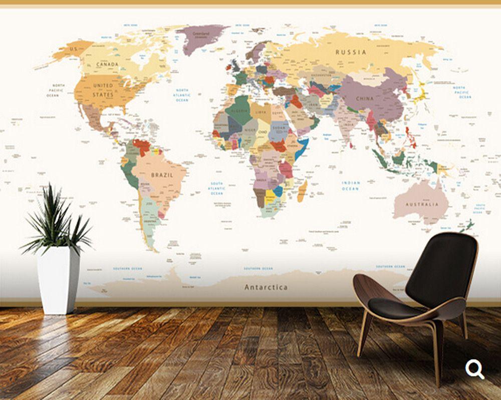 Papier peint personnalisé pour enfants, carte du monde politique couleurs Vintage, peintures murales de dessin animé 3D pour les chambres d'enfants salon papier peint en vinyle