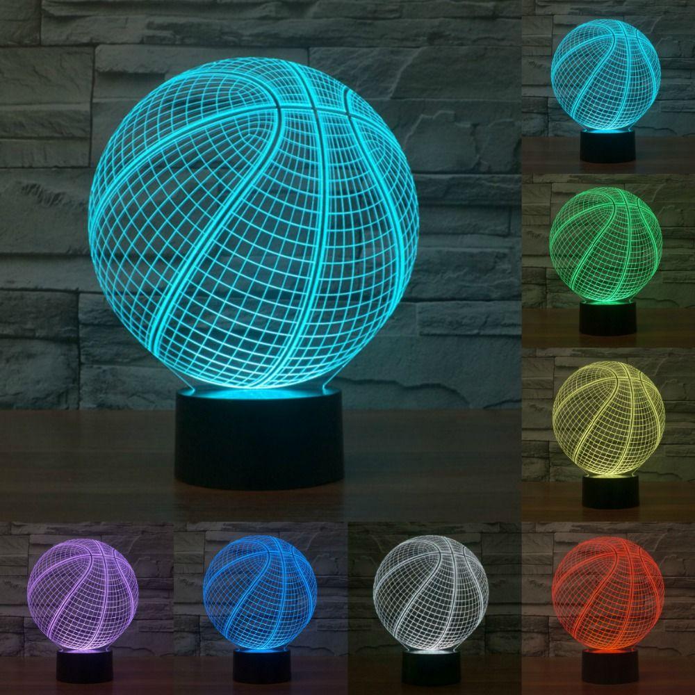 7 Изменение цвета 3D ilusion Баскетбол Форма LED Скульптура Светодиодные ночники настольная лампа визуализации украшения дома лампа iy803381