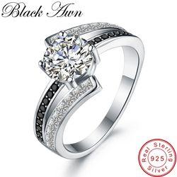 Карьера 3,9 г классические 925 стерлингового серебра ювелирные изделия ряд черный и белый камень свадебные кольца для женщин Femme Bague C334