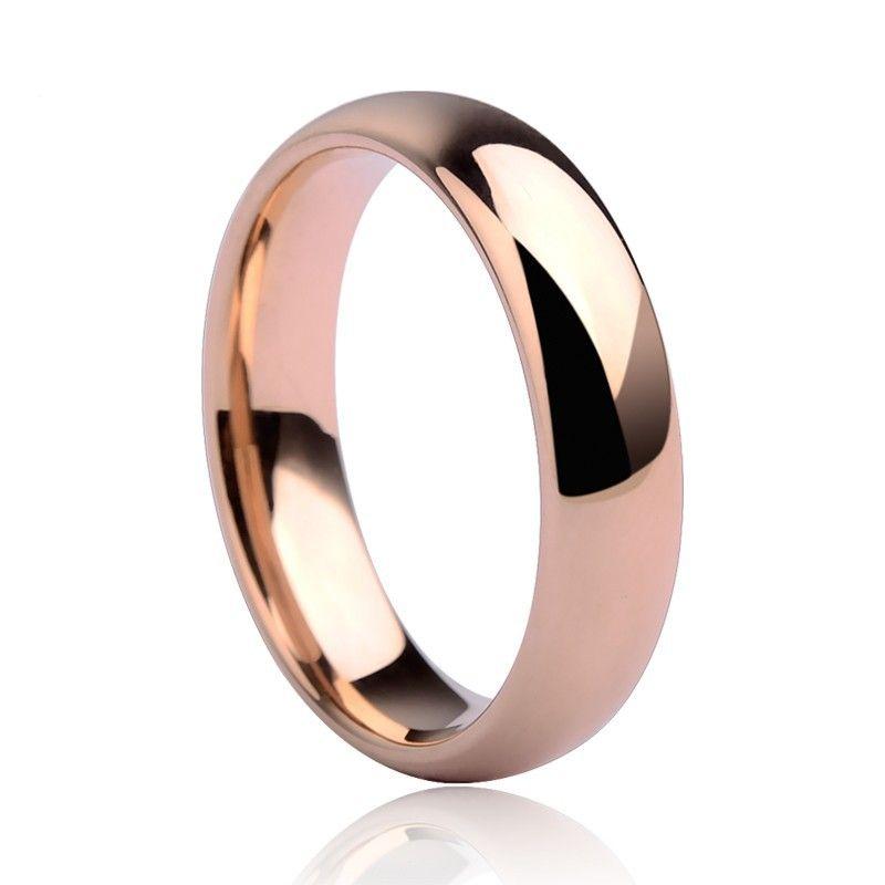 Nouveau mode 3.5mm/5mm plaqué or Rose tungstène anneaux de mariage dôme bande couples anneaux bijoux livraison gratuite taille 5-14