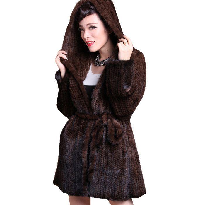 ZDFURS * Winter gestrickte pelz mantel mit kapuze mittel-lange nerz kleidung des echten nerz kleidungsstück