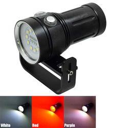 Profesional 30000LM Senter Menyelam 10 * L2 + 4 * R + 4 * UV LED Torch Di Bawah Air Fotografi video Scuba Senter Foto Lampu