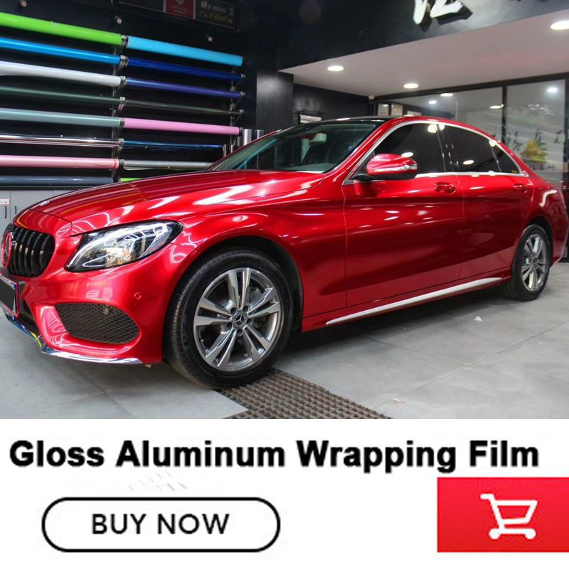 Newest red Glossy Metallic Vinyl wrap Car Wrap Styling With Air Bubble Gloss Aluminum red Vinyl Sticker High end glue