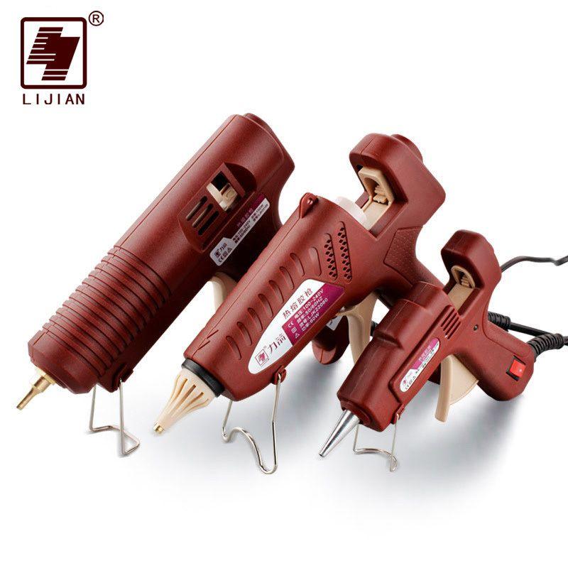 LIJIAN 20 W/60 W/100 W pistolet à colle thermofusible US/EU bouchon réglable professionnel cuivre buse chauffage cire 7mm 11mm colle bâtons