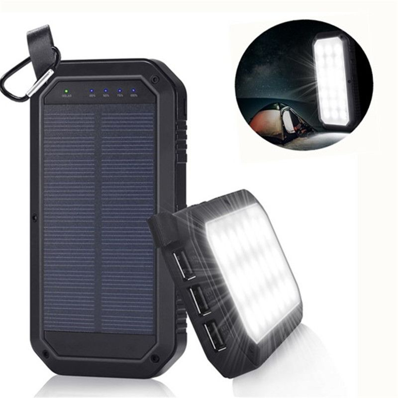 Mising 21 LED 8000mAh Portable Solar Powered Camping Light 3 USB Mobile Power Bank for iPhone/ipad/Android