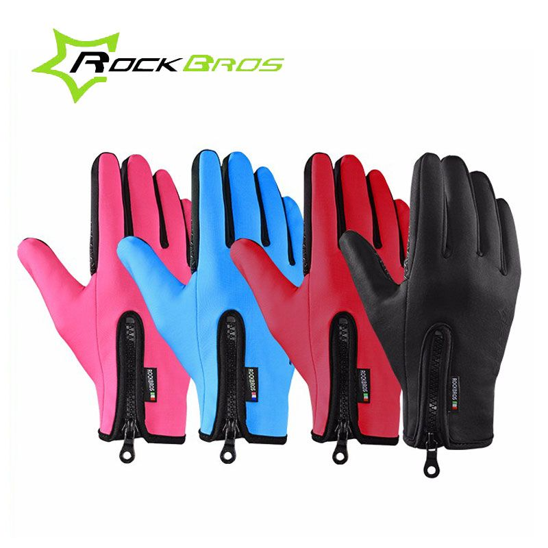 ROCKBROS Winter Windproof Warm Cycling Gloves Full Finger Touch Screen MTB Road Bike Bicycle Gloves Guantes Ciclismo Invierno