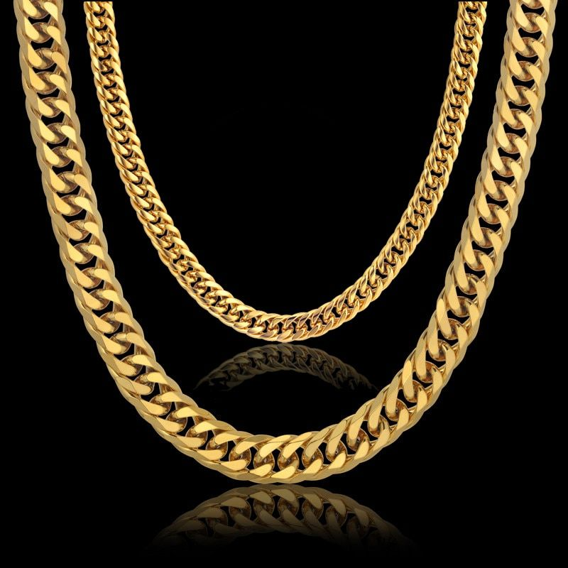 Men's Thick Silver Chains Fashion Necklaces Male Gold/Silver Color Stainless Steel Mens Cuban Link Chain Necklace Jewelry
