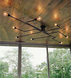 Vintage Pendentif Lumières Multiples Tige En Fer Forgé Plafond Lampe E27 Ampoule Salon Lamparas pour La Maison Éclairage