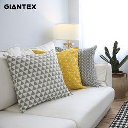 GIANTEX Moderne Simple Coton Lin Housse de Coussin Décoratif Taie D'oreiller Décor À La Maison Canapé Coussin Couverture 45x45 cm U1104