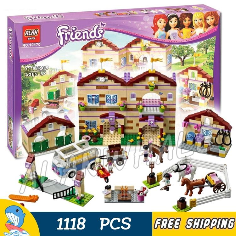 1118pcs Friends Heartlake Summer Riding Camp 10170 Horses Champion Foxy Sunshine Model Building Blocks Toys Compatible With lego
