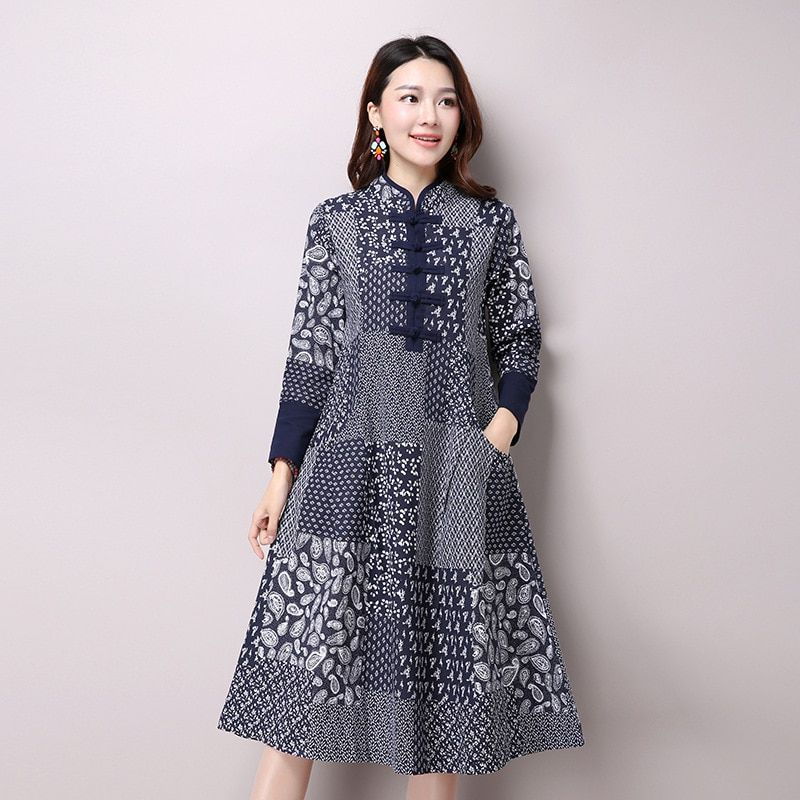 Autumn New Women's National Wind Casual Long Sleeve Cotton Linen Dress Casual Long Linen Dresses Bule Color Floral Print