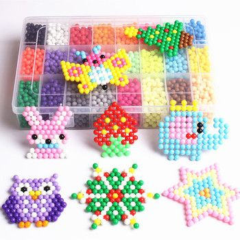 24 Color Spray Beads Solid Bead Refill Pack Sticky Perler Beads Pegboard Set Jigsaw Water Beadbond Bond Toy Puzzle 200pcs/bag