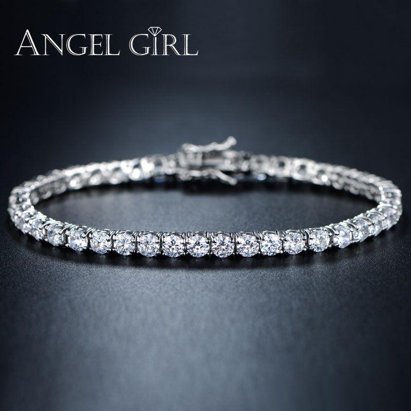 AngelGirl breloque bracelet rond 3/4/5/6mm zircon cubique couleur argent Tennis Bracelets & Bracelets pour femmes bijoux fantaisie pour hommes