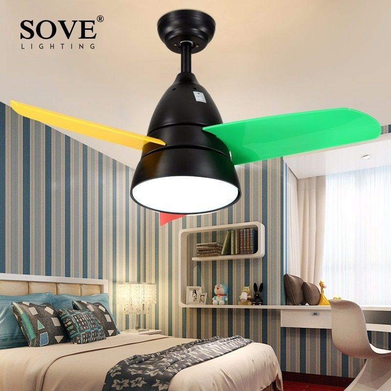 SOVE Modern LED 36 Inch Kids Ceiling Fans With Lights Bedroom Child Ceiling Fan Children 220 Volt Fan Lamp Ventilador De Techo
