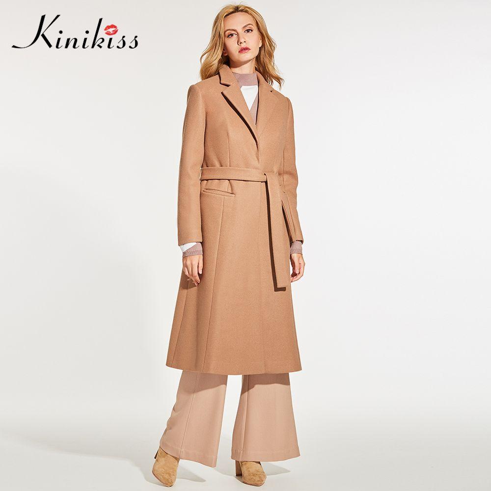 Kinikiss Women Camel Elegant Overcoat Winter Fashion Notched Lapel Belt Wool Blends Coats Outerwear Work Lady Office Long Coat