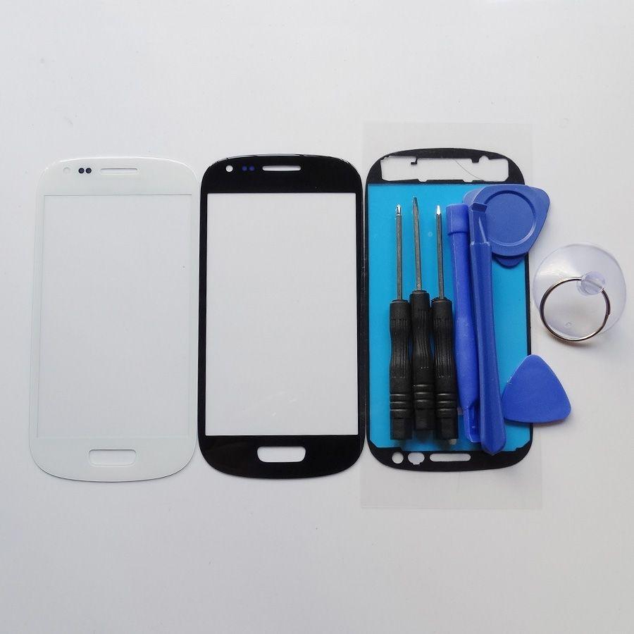 Negro Azul Blanco outer glass para samsung S3 mini GT-i8190 lcd de pantalla táctil digitalizador lente de cristal delantera y herramientas y adhesivo