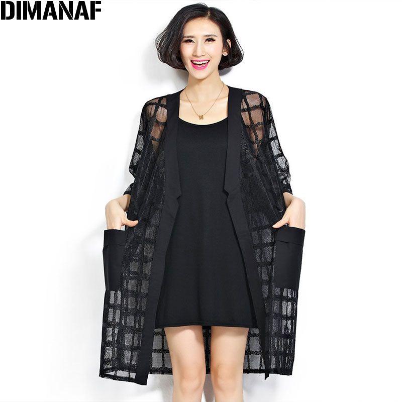 New Plus Size En Mousseline de Soie Manteau D'été Style De Mode de Femmes Vêtements Grande Taille Noir Plaid Imprimer Lâche Manches Demi-Dame long Cardigan