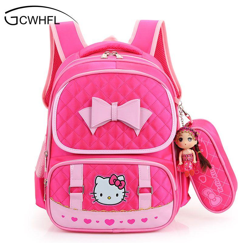 Hello Kitty School Backpacks For Children Nylon Girls Princess School Bag Waterproof Kids Satchel Girl Schoolbag mochila escolar