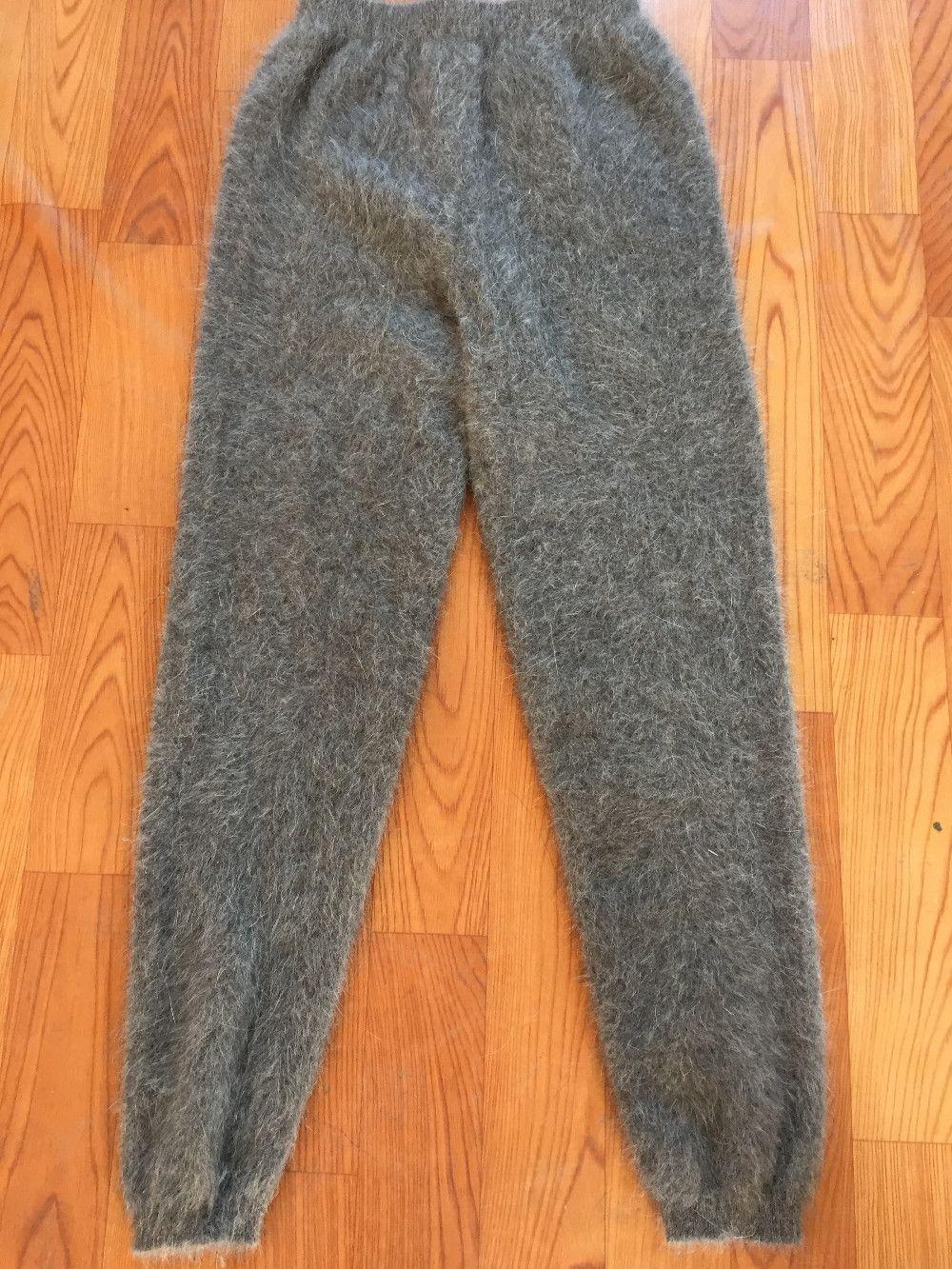 Hombre invierno Mink Cashmere hizo punto los pantalones calientes gruesos pantalones J59