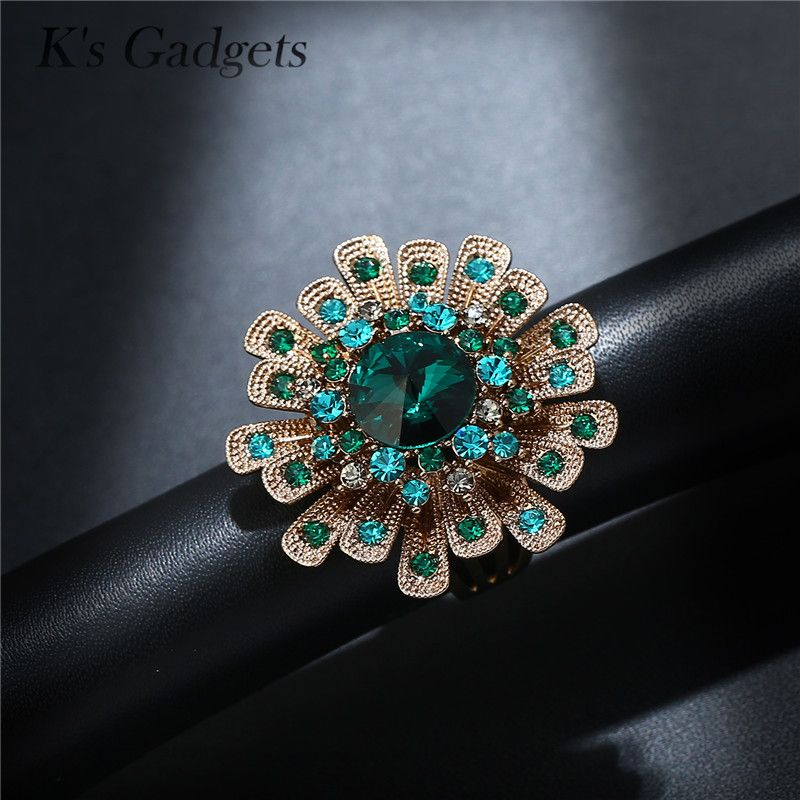 Green Austrian Crystal Cubic Zirconia Luxury Women Rings Fashion Titanium Gold Big Flowers Wedding Engagement Ring Bagues