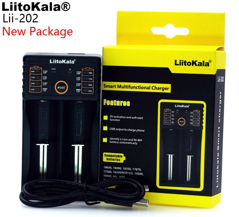 Liitokala Lii-202 18650 Ladegerät 1,2 V 3,7 V 3,2 V 3,85 V AA/AAA 26650 10440 14500 16340 25500 NiMH lithium-batterie ladegerät