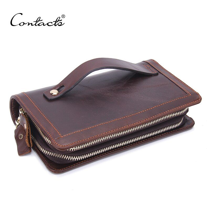 CONTACT'S Fashion Men's Original Retro Leather Clutch Wallet Guaranteed Genuine Leather Vintage Man Clutch Bags High Capacity