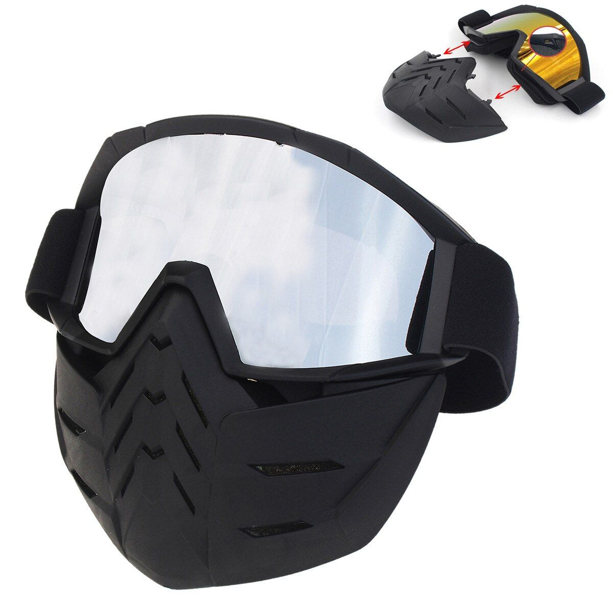 Motorcycle Detachable Face Mask Glasses PC Lens Cycling Bike Ski Goggles Motorbike Face Mask For Motorcycle Helmet