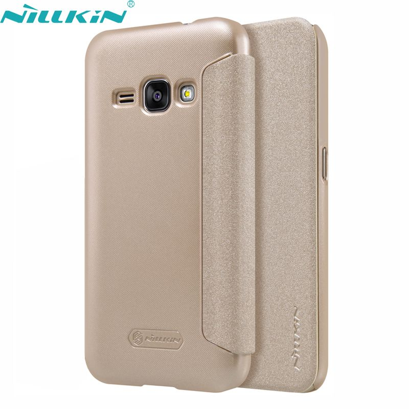 For Samsung Galaxy J1 2016 SM-J120F 4.5'' Leather Case Original Nillkin Quality Hard PC Back Cover Flip Protective Phone Case