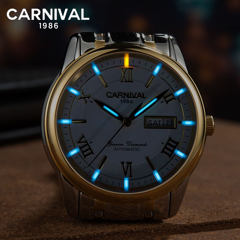 Carnival T25 Tritium Automatic Watch Men Luminous Mechanical Watches Business Mens Clock Stainless Steel Wristwatch kol saati