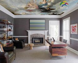 OP-004 western religious heaven's Angles oil painting Stretched Ceiling Films fashionable material with led lamp