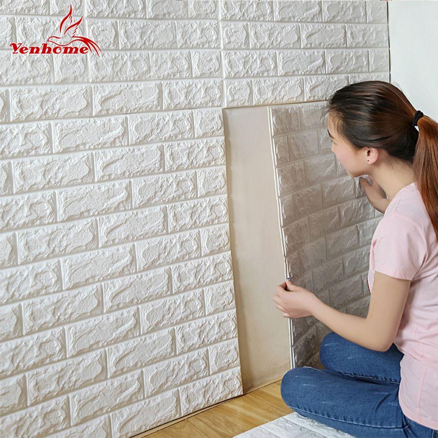 70 cm X 77 cm PE Mousse Décoratif 3D Autocollant Auto-Adhésif Papier Peint BRICOLAGE Brique Salon Enfants Safty Chambre Home Decor Wall Sticker
