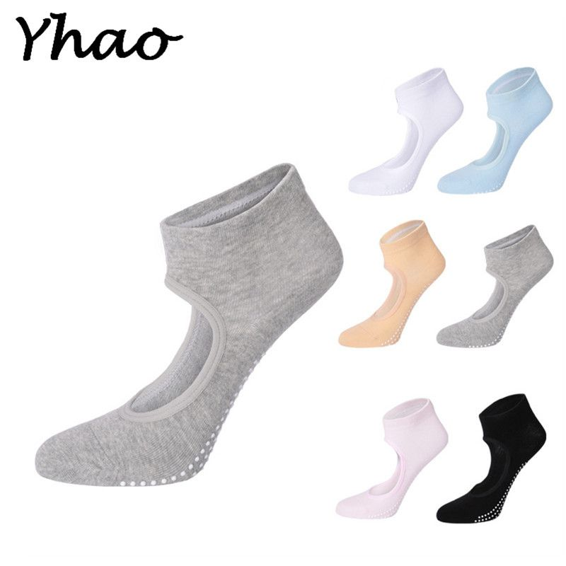 Yhao Baumwolle Yoga Backless Boot Socken Anti-skid Atmungsaktive Barre Pilates Dance Fitness Socken Für Frauen