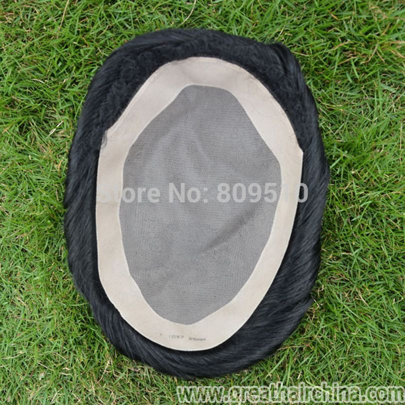 Buy tape Give away Full Mono lace base +pu, Natural Replacement for men, Natural Black Hand Tied Mono Filament Base Mens Toupee