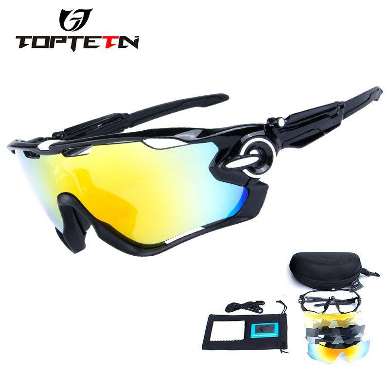 TOPTETN Polarized 5 Lens Cycling Eyewear MTB Bicycle Sun Glasses Cycling Sunglasses Mountain Bike Goggles Gafas de Ciclismo