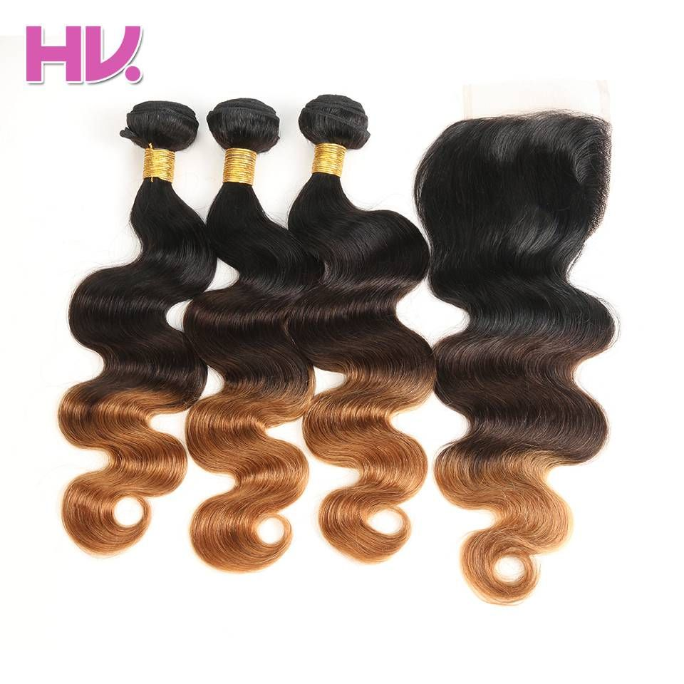 Cheveux Villa Ombre Brésilien Vague de Corps Bundles Cheveux Avec Fermeture # 1b/4/30 4*4 Remy Ombre de Cheveux Humains avec Dentelle Fermeture pour Salon
