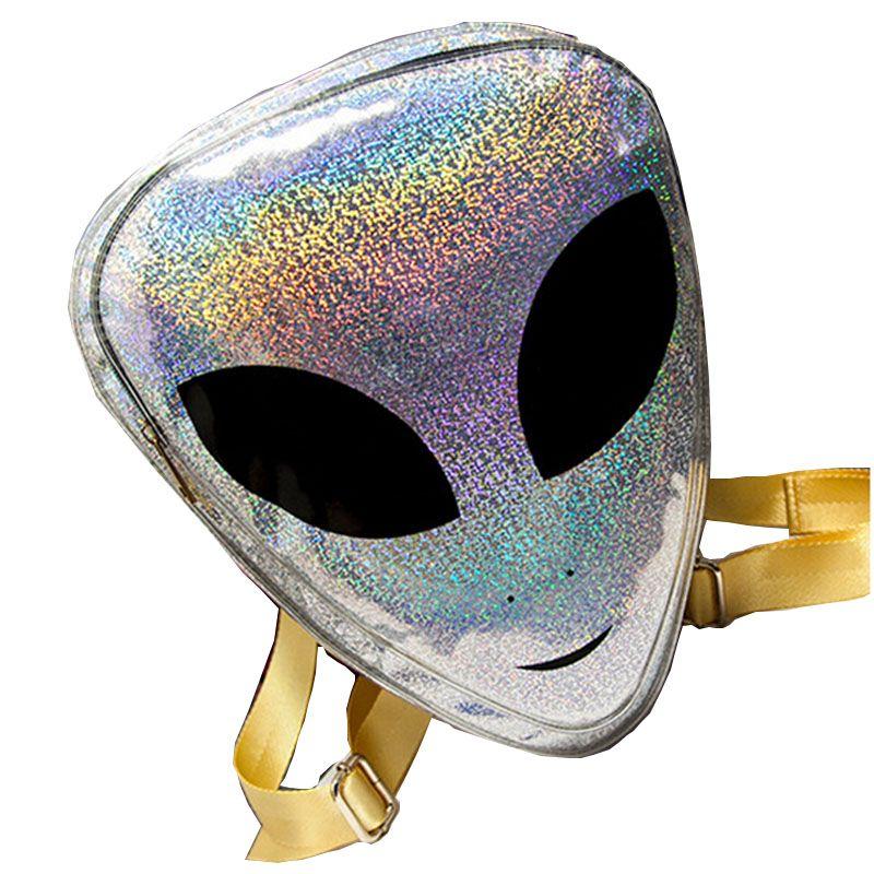 2018 Harajuku Alien Bag Funny Clear Backpack for Women Hologram Hip-Hop Mochilas Transparent Laser PVC Alien Backpacks L1053