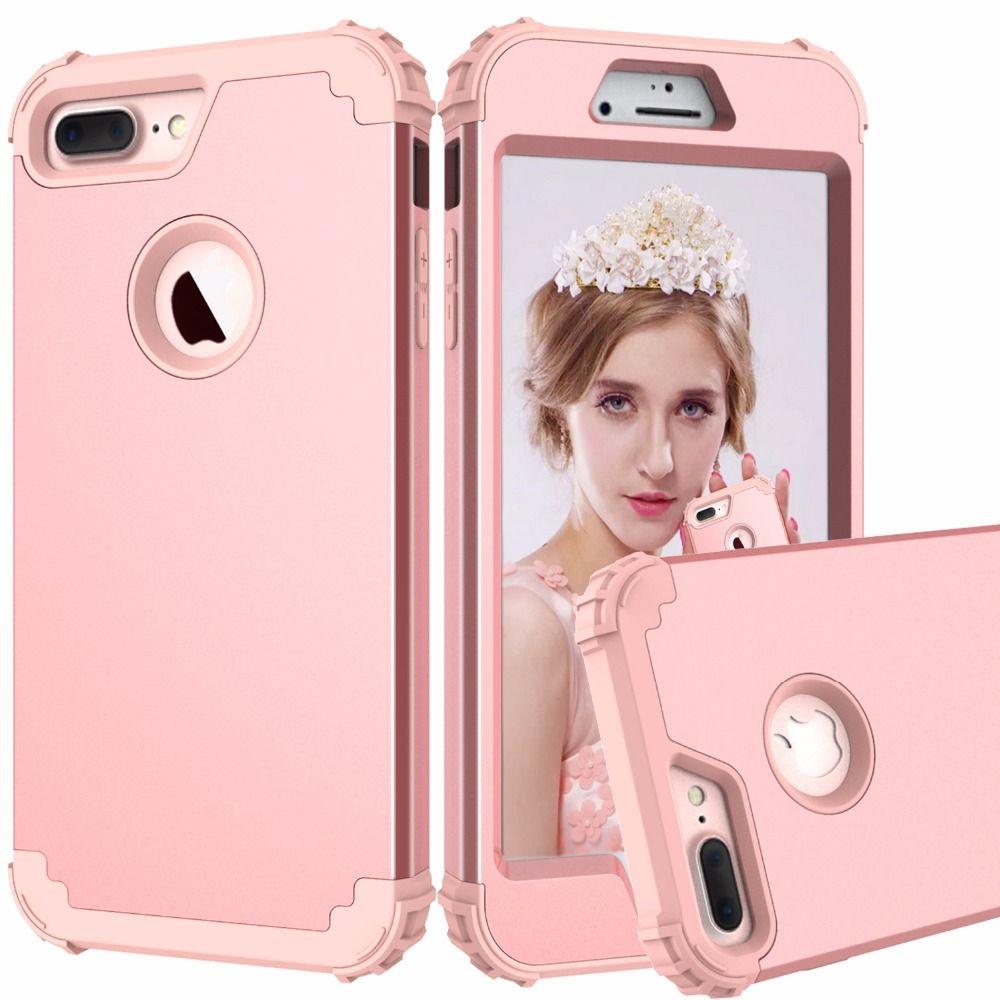 Étui de Téléphone antichoc pour iPhone 6 6 s 7 Plus, PC + TPU 3-Couches Hybride Complet Étui de Protection pour iPhone 7 Antidétonantes Coque De Téléphone
