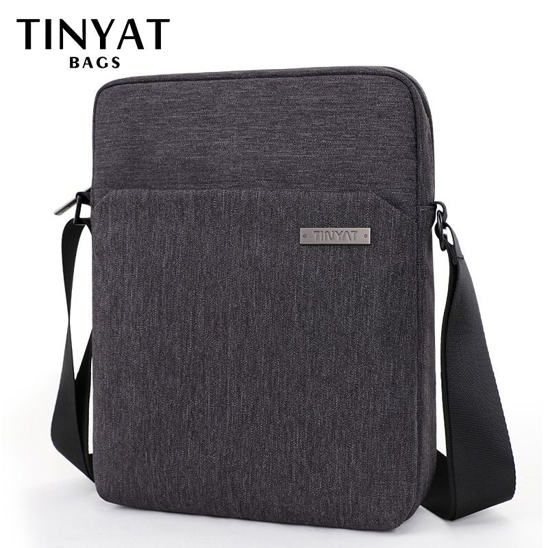 TINYAT Brand Man Crossbody Bag Travel Casual Shoulder Bag for men Fit for 9.7 inch Ipad Polyester Waterproof Messenger bag T512