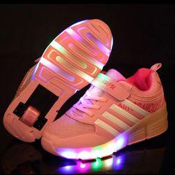 Детские светящиеся кроссовки; Детские кроссовки с колесиками; детская обувь; дышащая обувь для мальчиков и девочек; детская обувь на ролика...