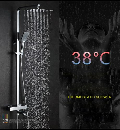 Bathroom Brass Chrome Wall Mounted Intelligent Thermostatic Shower Set SUS304 stainless steel 25cm*25cm 10'' Square Shower Head