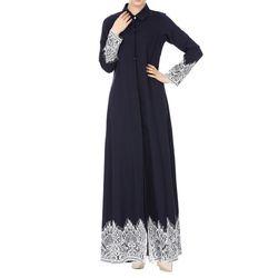 Мусульманские женские кружевные отделанные спереди Абая мусульманское Макси халат-кимоно l0525