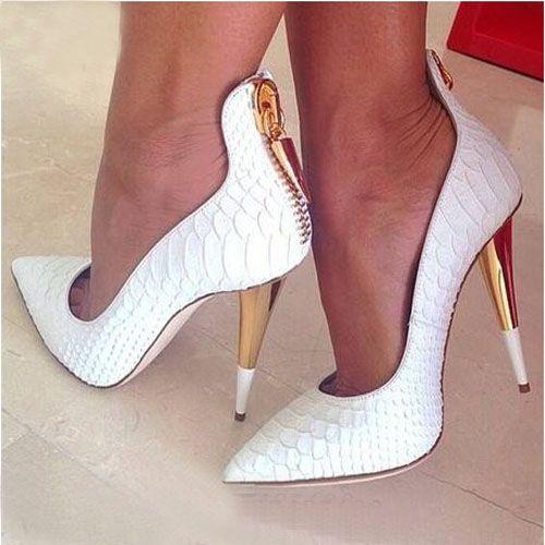 Weiß Geprägtem Leder Escarpins Femme Spitz Pumpen Gold Reißverschluss Frauen High Heels Schuhe Spike Heels Hochzeit Schuhe Sexy